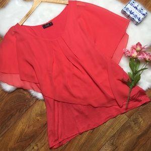 NAÏF asymmetrical salmon pink blouse